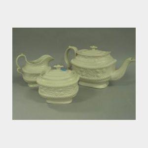 Three-Piece English Salt Glazed Tea Set.