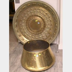 Indo-Persian Brass Jardiniere and a Large Repousse Brass Charger.