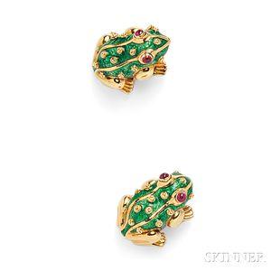 Pair of 18kt Gold and Enamel Frog Brooches, David Webb