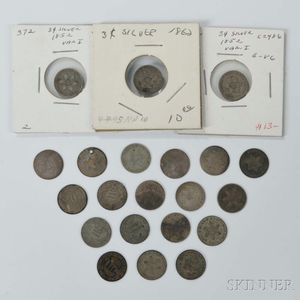 Twenty-one Silver Three Cent Trimes
