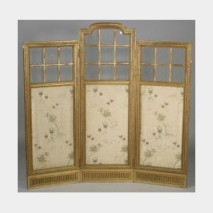 Louis XVI Style Giltwood and Glass Three Panel Screen
