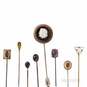 Eight Antique Gold Gem-set Stickpins
