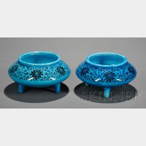 Pair of Minton Persian Blue Footed Bowls