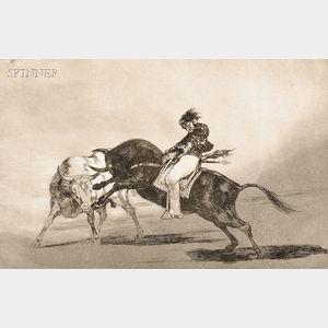 Francisco José De Goya y Lucientes (Spanish, 1746-1828)      El Mismo Ceballos Montado Sobre Otro Toro