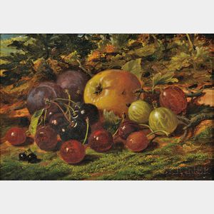 James Tibbits (British, 19th Century)      Still Life with Fruit in a Landscape