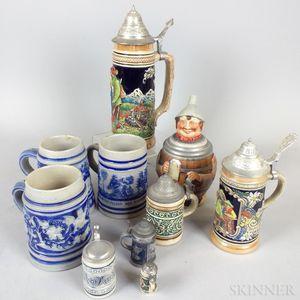 Ten Stoneware Mugs and Steins