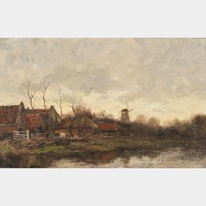 Charles Paul Gruppe (American, 1860-1940)      Windmill, Holland