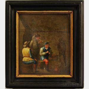 Dutch School, 17th Century Style    Men Smoking in a Tavern Interior