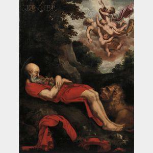 School of Abraham Bloemaert (Dutch, b. 1564-1651)      Death of Saint Jerome