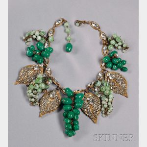 Impressive Vintage Grape Cluster Festoon Necklace, Miriam Haskell