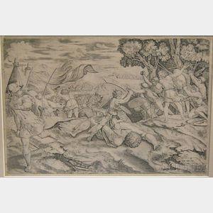 Attributed to Marcantonio Raimondi (Italian, b. circa 1480-1527)      David Decapitating Goliath