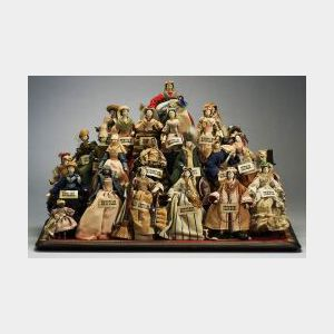 """Pyramid of Grodnertal Dolls in """"Female Costume of Every Nation"""""""