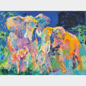 LeRoy Neiman (American, 1921-2012)      Elephant Family