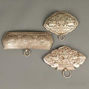 Three Repousse Metal Belt Hooks