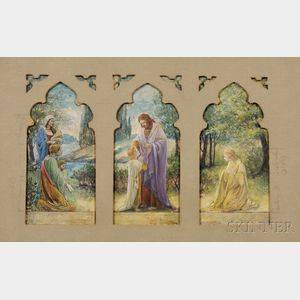 Studio of Louis Comfort Tiffany (American, 1848-1933), Three Stained Glass Window Studies for the Plymouth Congregational Church, Milwa