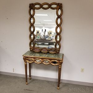 Italian-style Mirrored and Gilt Console Table and Mirror