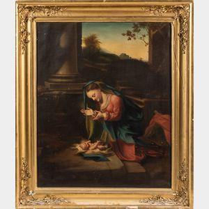 Amasa Hewins (American, 1785-1855)      Copy After Correggio, Madonna in Adoration of the Child Jesus