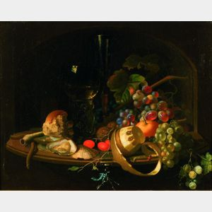 Manner of Willem Claesz Heda (Dutch, 1594-c. 1680)    Still Life With Rommer, Fruit and Oysters on a Ledge