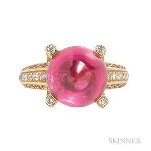 18kt Gold, Pink Tourmaline, Orange Sapphire, and Diamond Ring