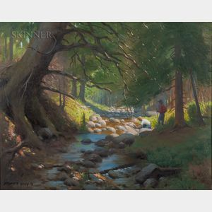 Herbert E. Abrams (American, 1921-2003)      Two Men by a Stream