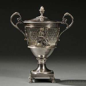 French Empire .950 Silver and Glass Covered Urn