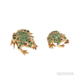 18kt Gold and Tsavorite Garnet Frog Brooches, E. Wolfe & Co.