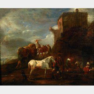 After Philips Wouwerman (Dutch, 1619-1668)    Shoeing a Horse