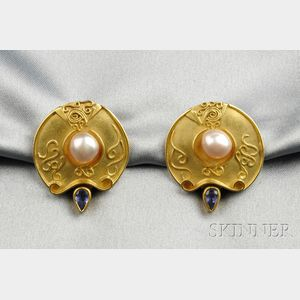 22kt and 18kt Gold, Freshwater Pearl, and Iolite Earclips