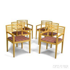 Set of Six Knoll Beechwood Ricchio Armchairs