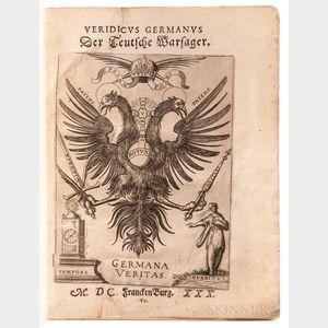 Bilger, Johann (fl. circa 1630) Veridicus Germanus der Teutsche Warsager.