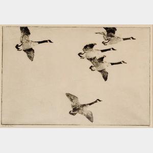 Frank Weston Benson (American, 1862-1951)    Geese