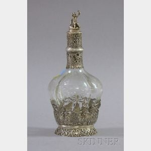 Continental Silver Mounted  Glass Decanter