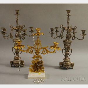 Pair of Victorian-style Silvered Cast Metal Six-light Candelabra and a Gilt-metal Figural Girandole Candelabra.