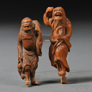 Two Figural Wood Netsukes