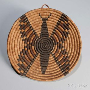 Hopi Second Mesa Coiled Pictorial Basketry Tray