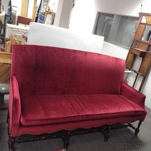 Southwood Jacobean-style Red Velvet-upholstered Mahogany Sofa