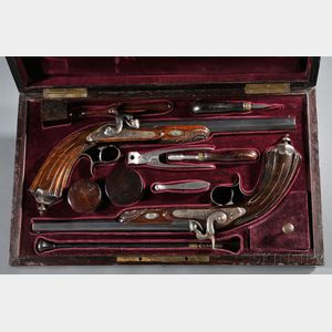 Cased French Percussion Target Pistol Set