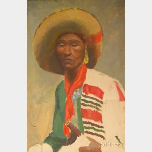 Framed Oil on Canvas Portrait of a Man in a Sombrero