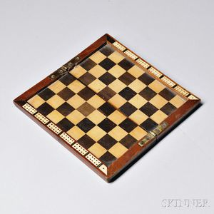 Miniature Mahogany and Inlaid Folding Checkerboard and Cribbage Counter