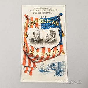 Lithographed W.T. Hart Republic Presidential Campaign Advertisement for Benjamin Harrison