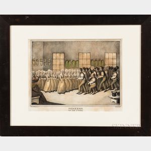 """Hand-colored """"Shakers, their mode of Worship"""" Lithograph"""
