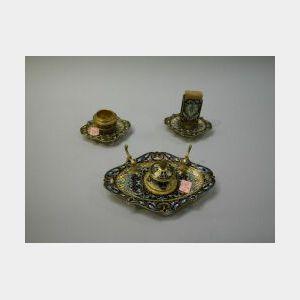 Three-piece French Champleve Enameled Brass Desk Set.