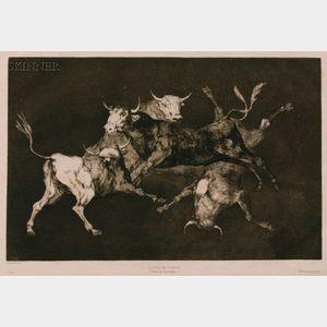 Francisco de Goya (Spanish, 1746-1828)      Disparate de Tontos - Lluvia de Toros