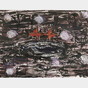 Joan Snyder (American, b. 1940)      Field of Moons