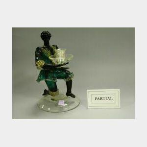 Pair of Murano Glass Costumed Blackamoor Figural Candleholders.