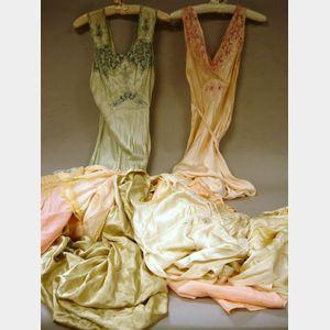Group of Mostly Silk Satin Vintage Lady's Nightwear