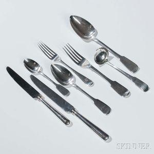 "Assembled British ""Fiddle"" Pattern Sterling Silver Flatware"