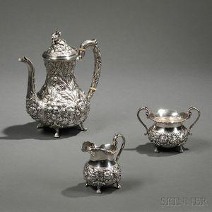 Three-piece Steiff Sterling Silver Tea Service