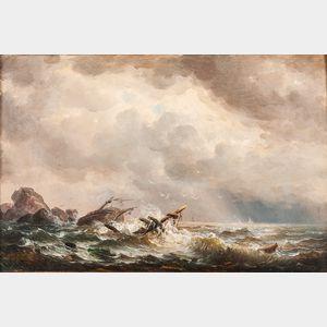 Louis Karl August Preller (German, 1822-1901)      Ship Wrecked upon Rocks