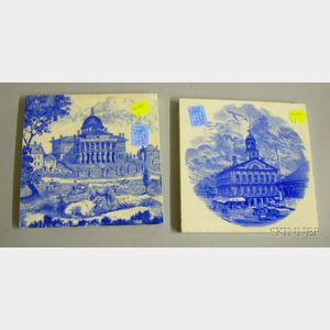 Mintons Transfer Boston State House Tile and a Wedgwood Transfer Faneuil Hall Tile